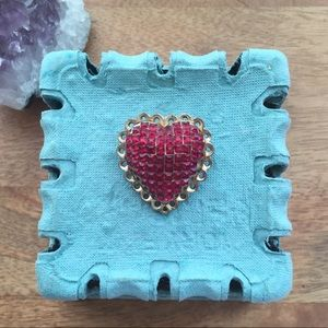 Red gem heart brooch vintage